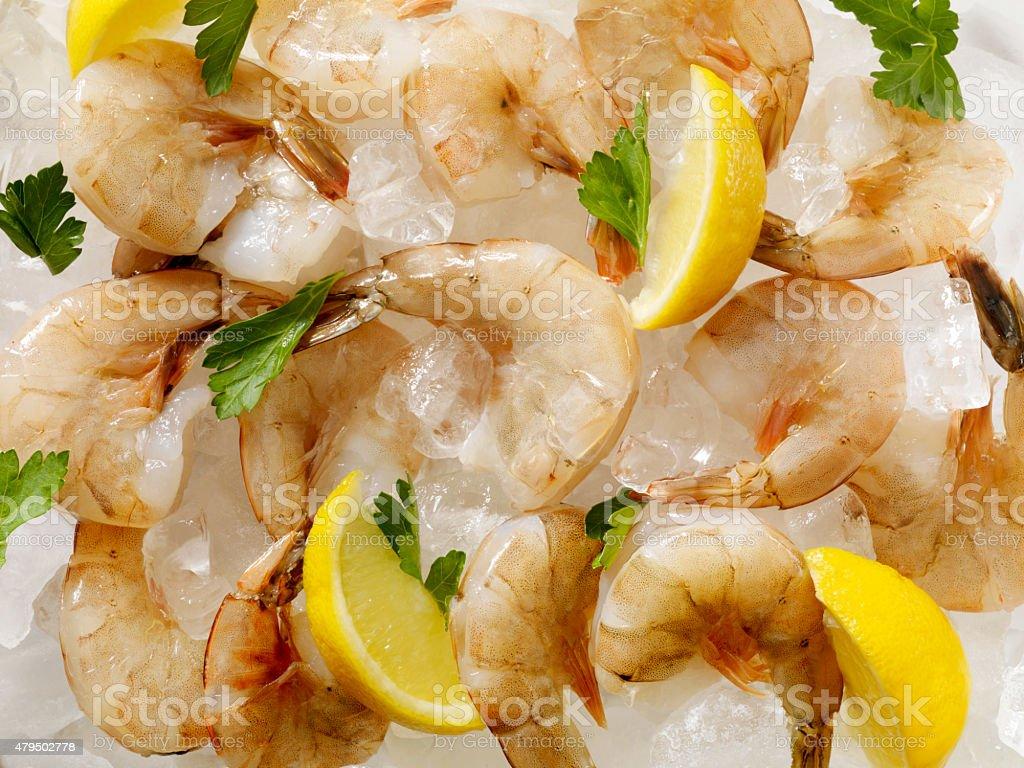 Raw Shrimp on Ice stock photo