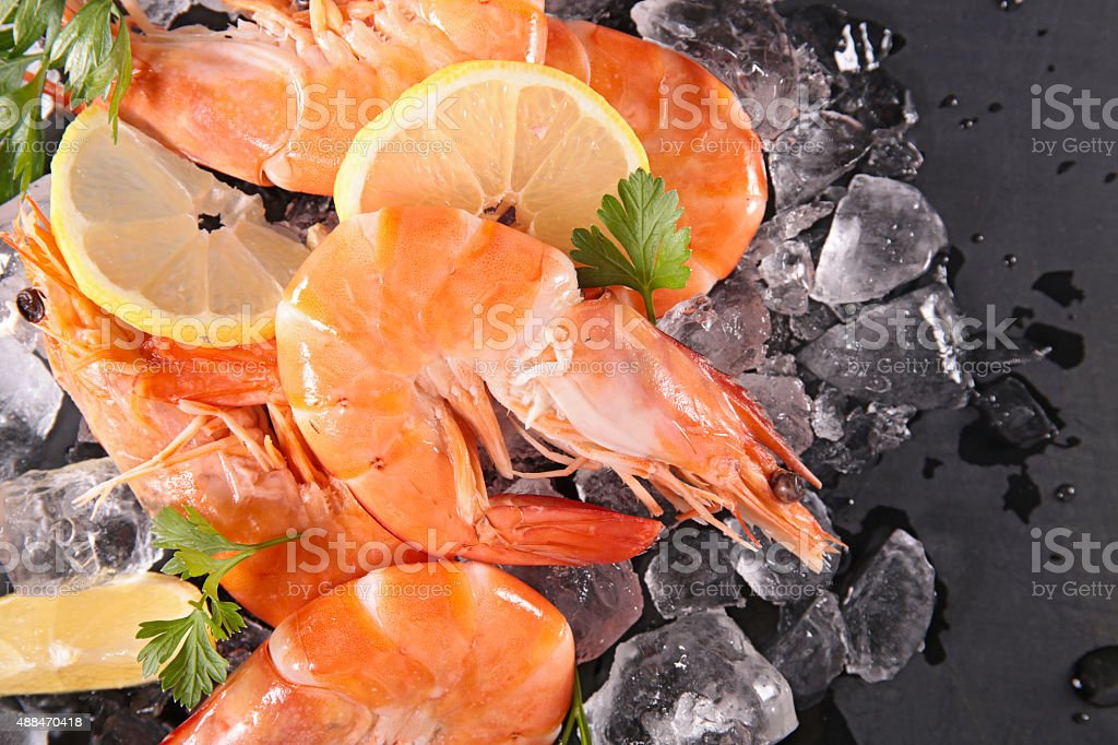 raw shrimp stock photo