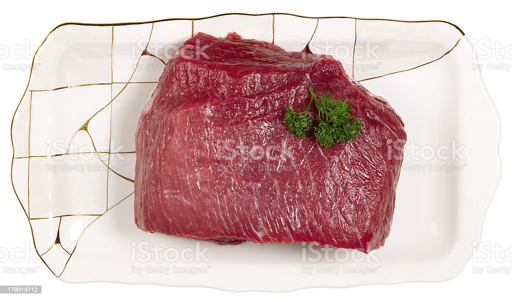 Raw sliced meat on plate royalty-free stock photo