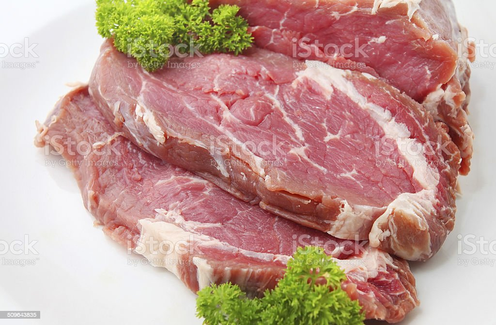 Raw sliced of beef meat or ribeye stock photo