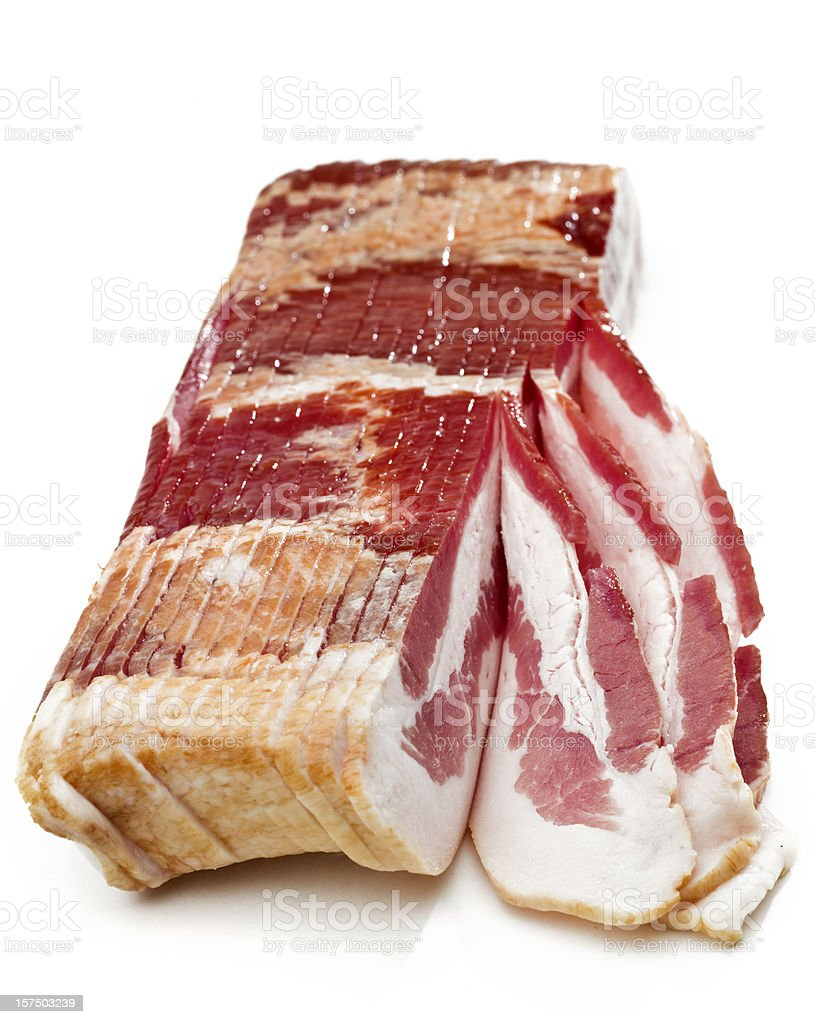 Raw Smoked Bacon Slices royalty-free stock photo