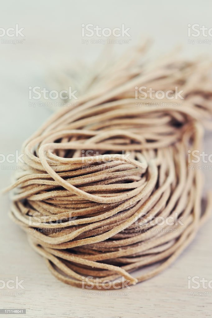Raw Soba Noodles stock photo