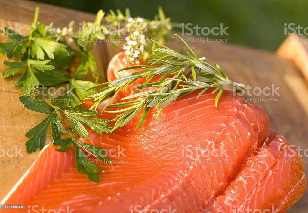 Raw Sockeye Salmon Fish, Herbs & Fresh Seafood Dinner Preparation royalty-free stock photo