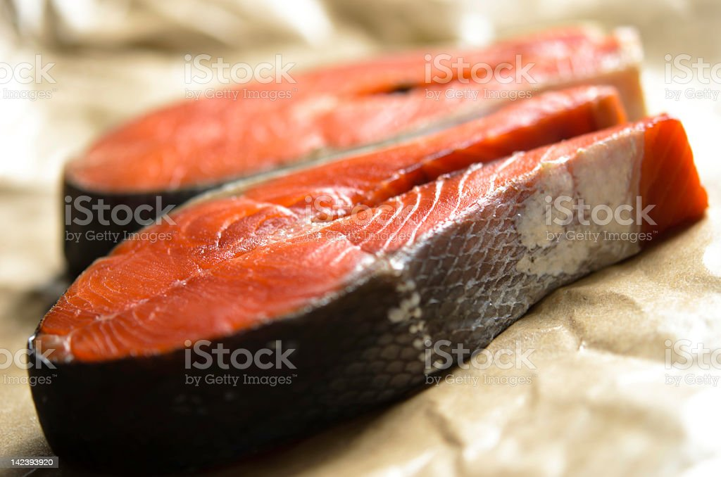 Raw Sockeye Salmon Steaks royalty-free stock photo