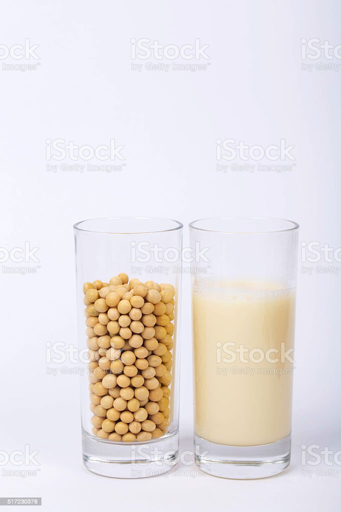 raw soybean and soybean milk stock photo