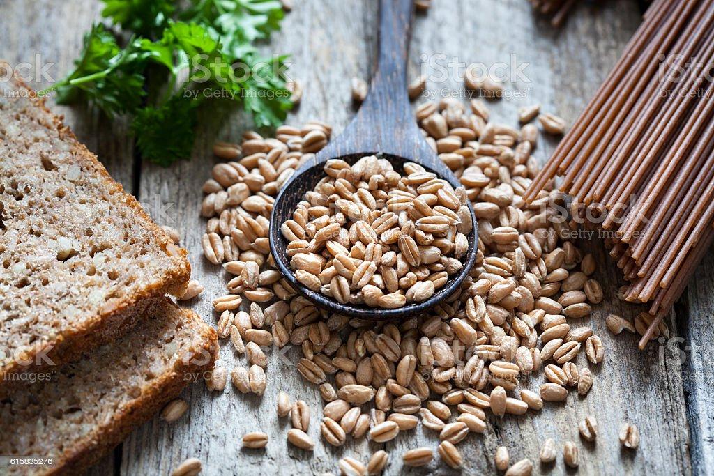 Raw spelt pasta bread stock photo