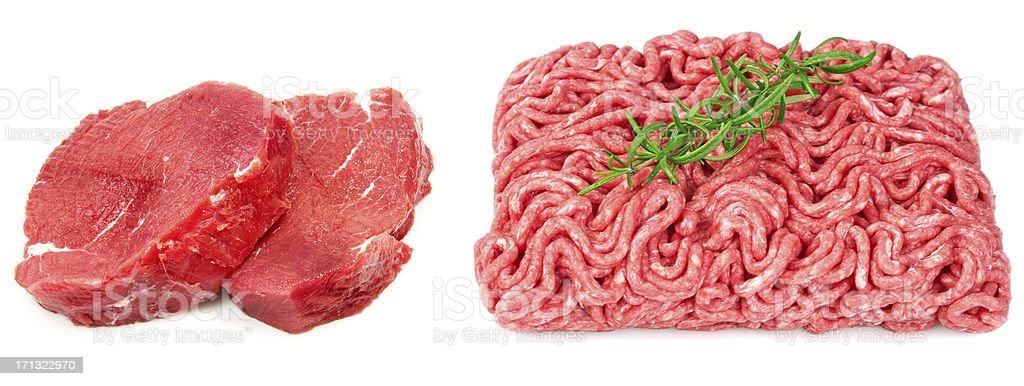 Raw steak and ground beef stock photo