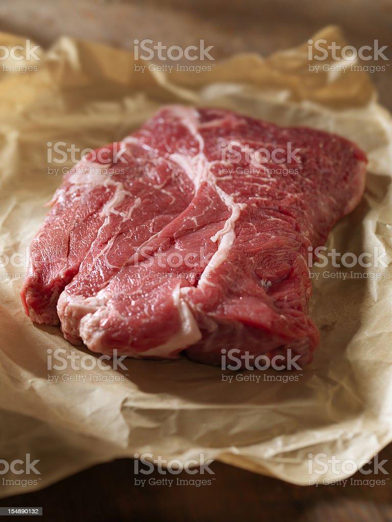 Raw Steak in Butcher Paper stock photo
