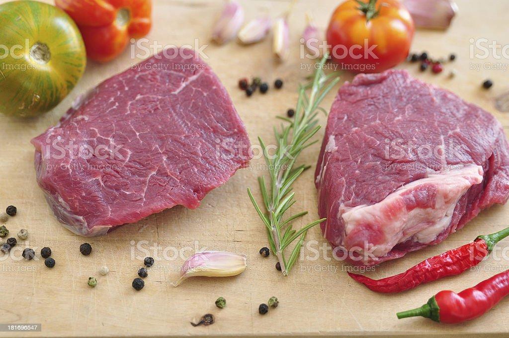 Raw Steak on a chopping board royalty-free stock photo