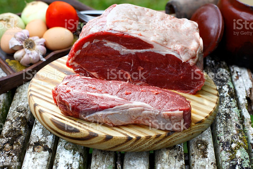 Raw steak stock photo