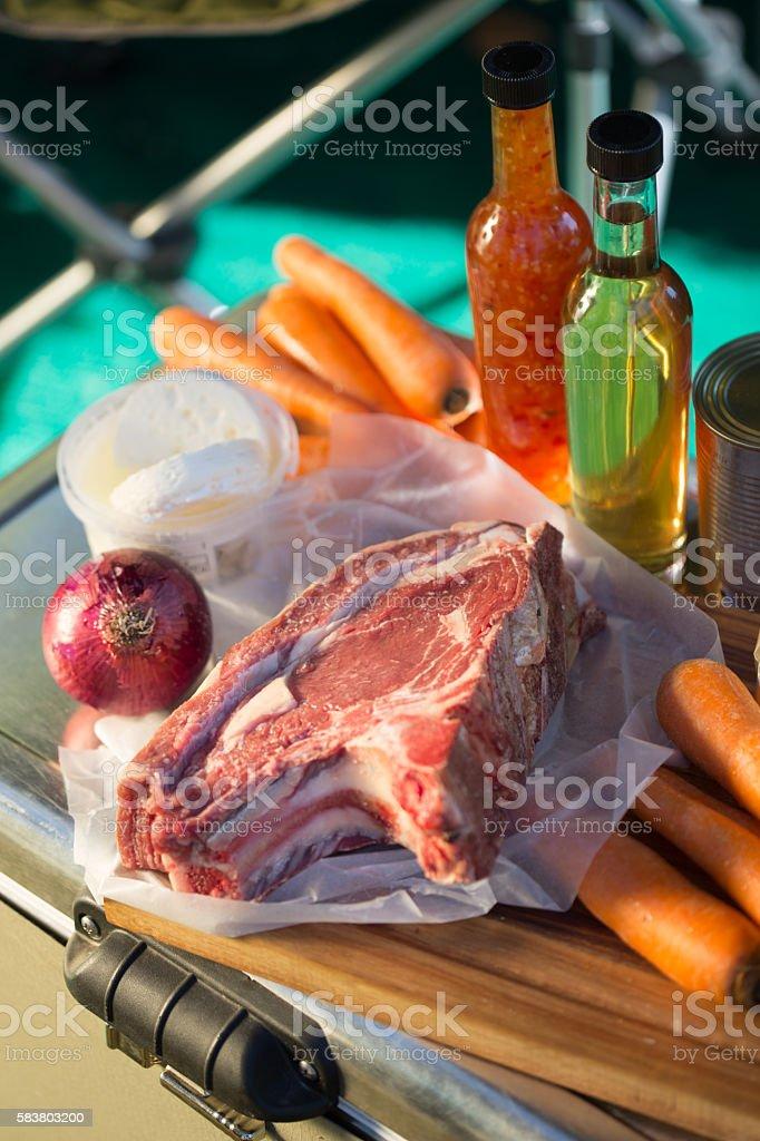 Raw Steak Ready to BBQ stock photo