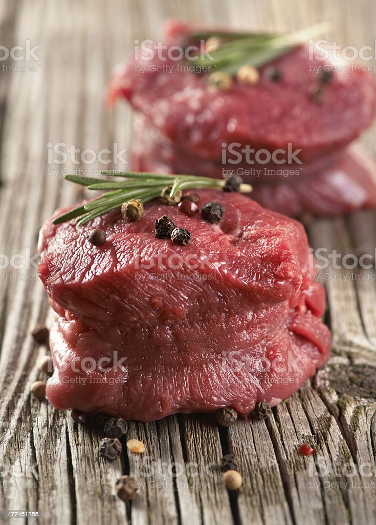 raw steak with pepper on wood stock photo