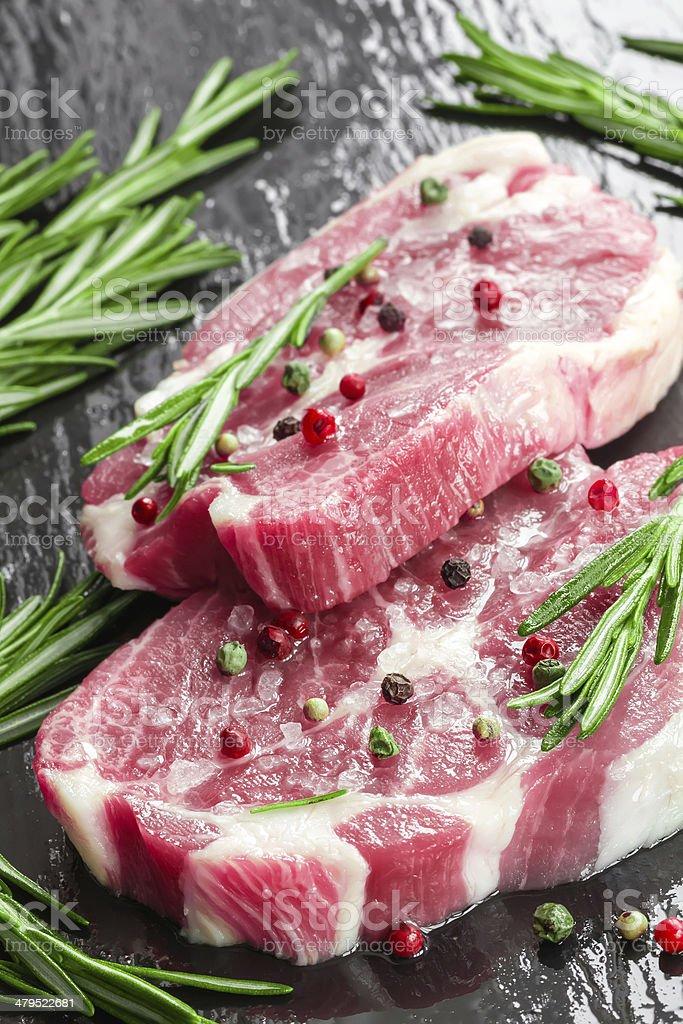 Raw steaks royalty-free stock photo