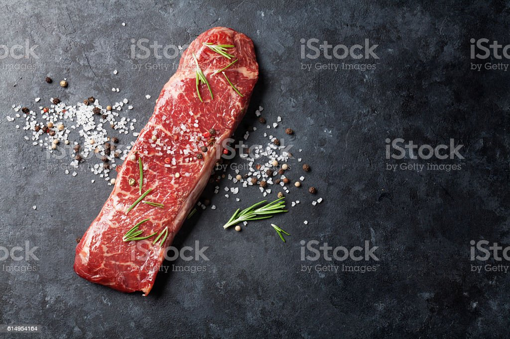 Raw striploin steak stock photo
