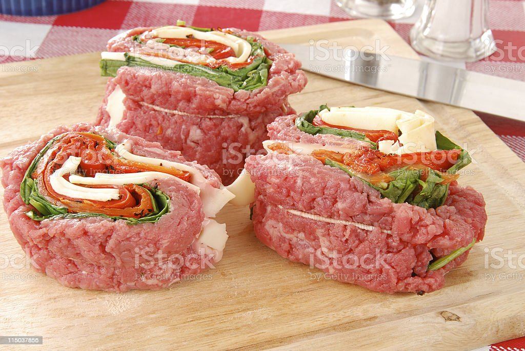 Raw stuffed flank steak stock photo