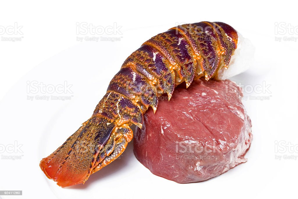 Raw surf and turf stock photo