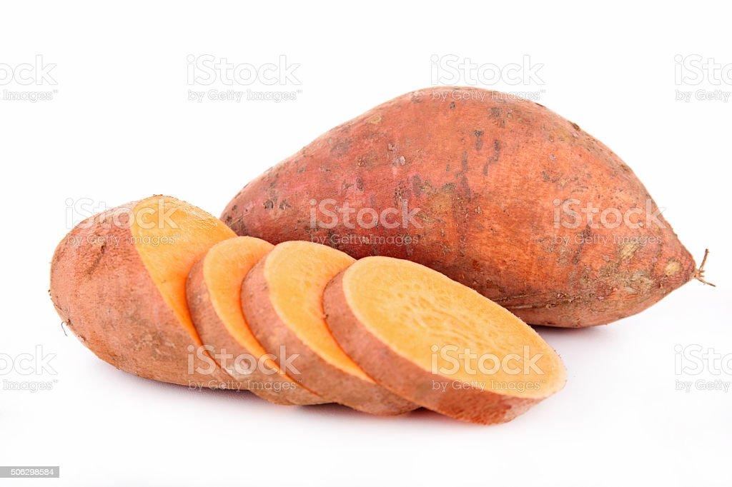 raw sweet potato stock photo