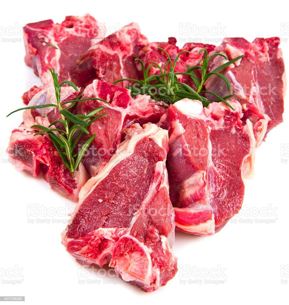 raw T-bone on white background stock photo