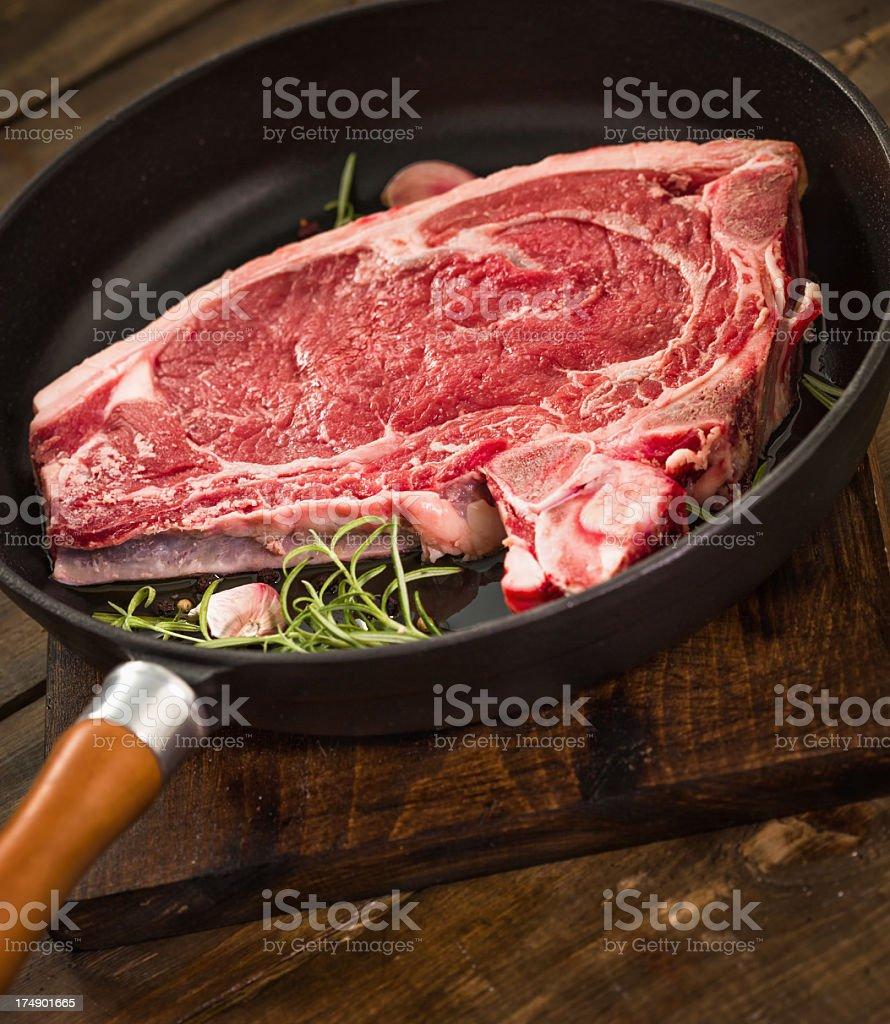 Raw T-Bone Steak royalty-free stock photo