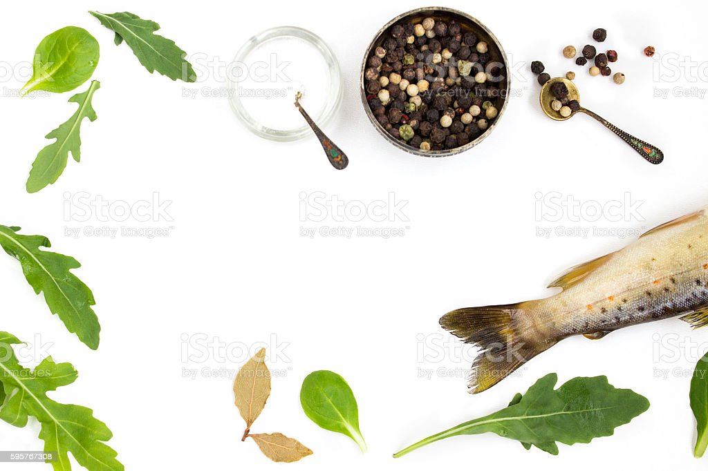 Raw trout on a white background stock photo