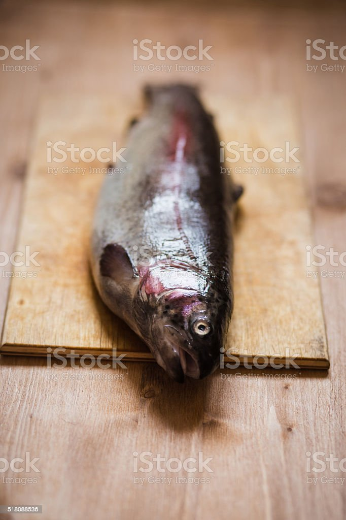 Raw trout on the chopping board at wooden table stock photo