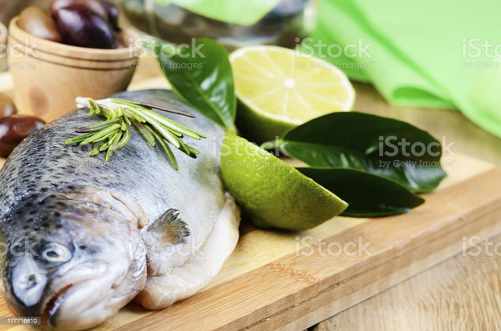 Raw trout royalty-free stock photo