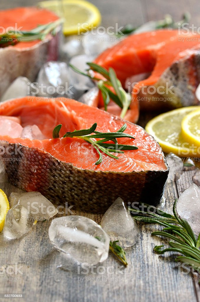 Raw trout. stock photo