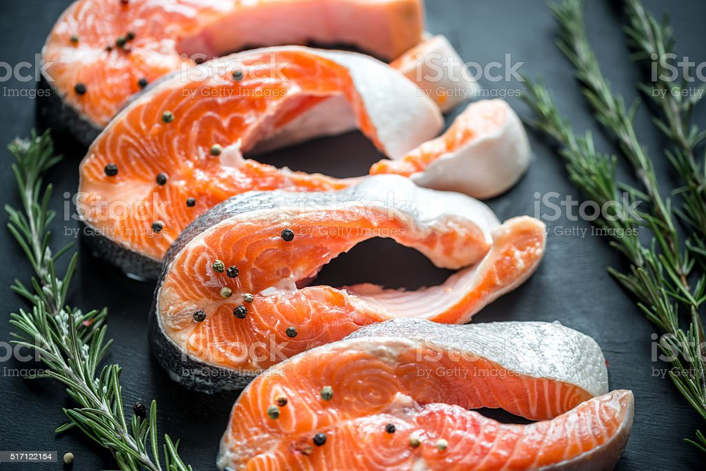 Raw trout steaks stock photo