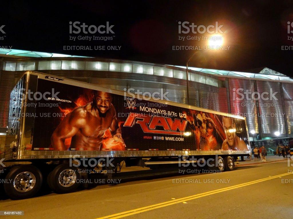 WWE Raw Truck with John Cena and Kofi Kingston image stock photo