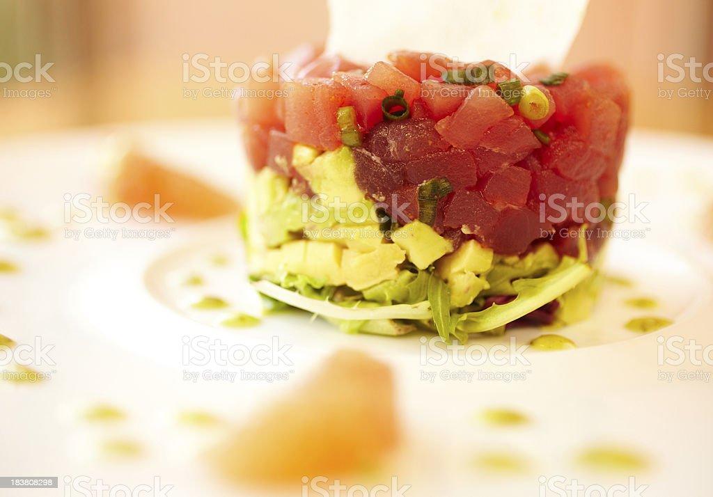 Raw tuna and avocado salad royalty-free stock photo