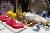 Raw tuna, lemon, olive oil, daikon radish and sesame seeds