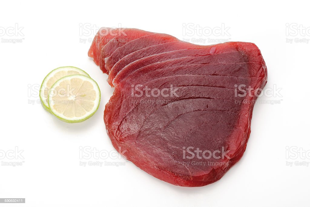 Raw tuna steak, close-up stock photo