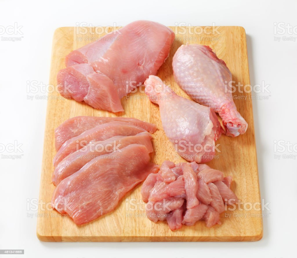 Raw turkey meats and cuts stock photo