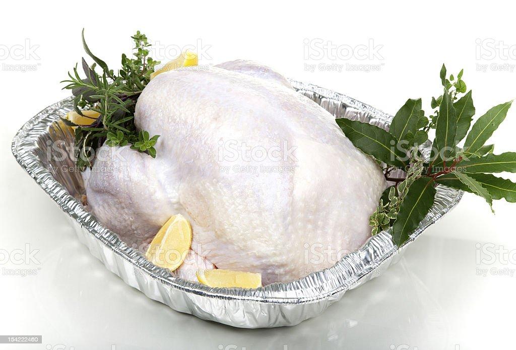 Raw turkey on white stock photo