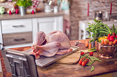 Raw Turkey with Vegetables Ready to be Prepared for Holidays