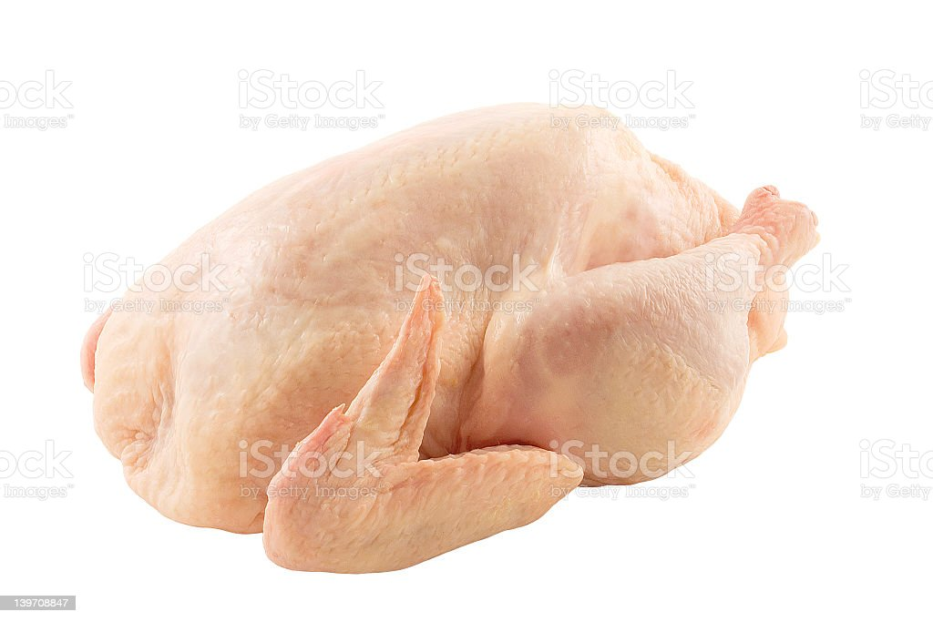 Raw uncooked chicken white background stock photo