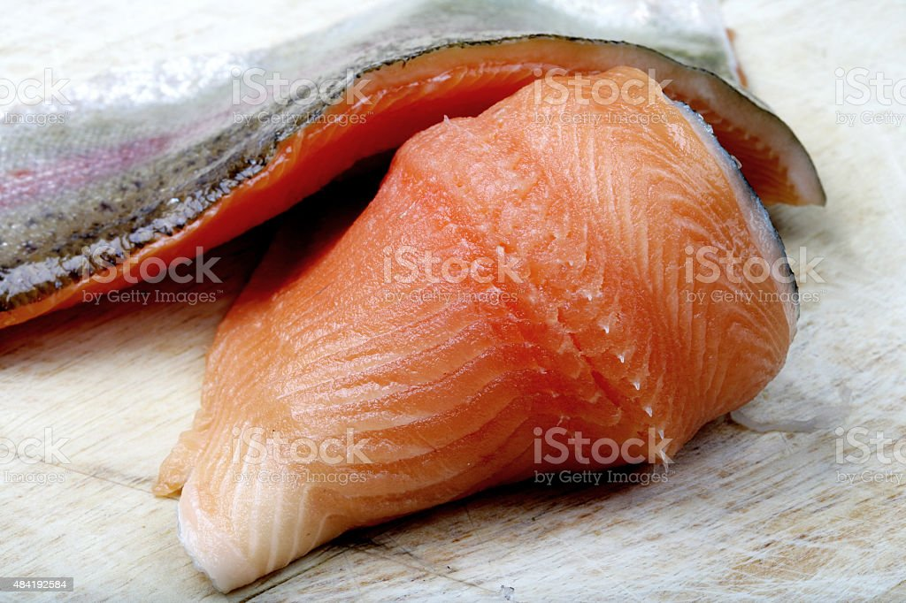Raw Uncooked Fresh Rainbow Trout Fillets stock photo