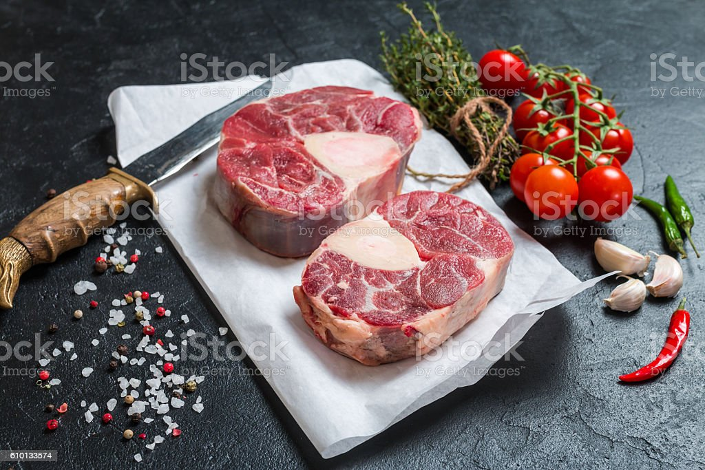 Raw veal shank slices meat stock photo