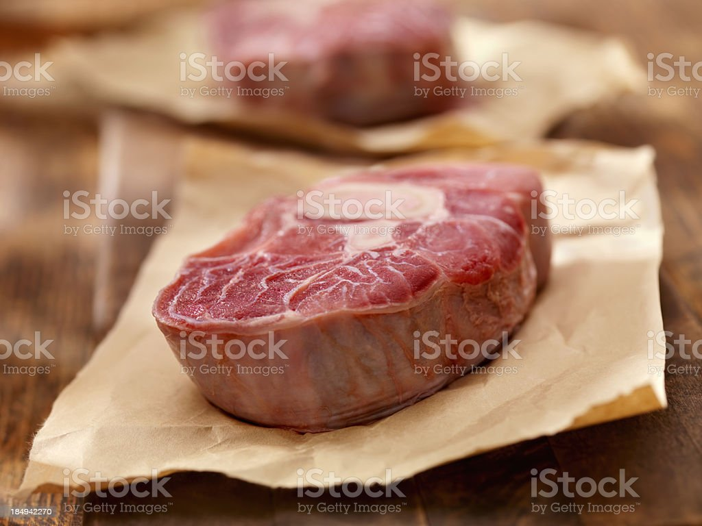 Raw Veal Shanks stock photo
