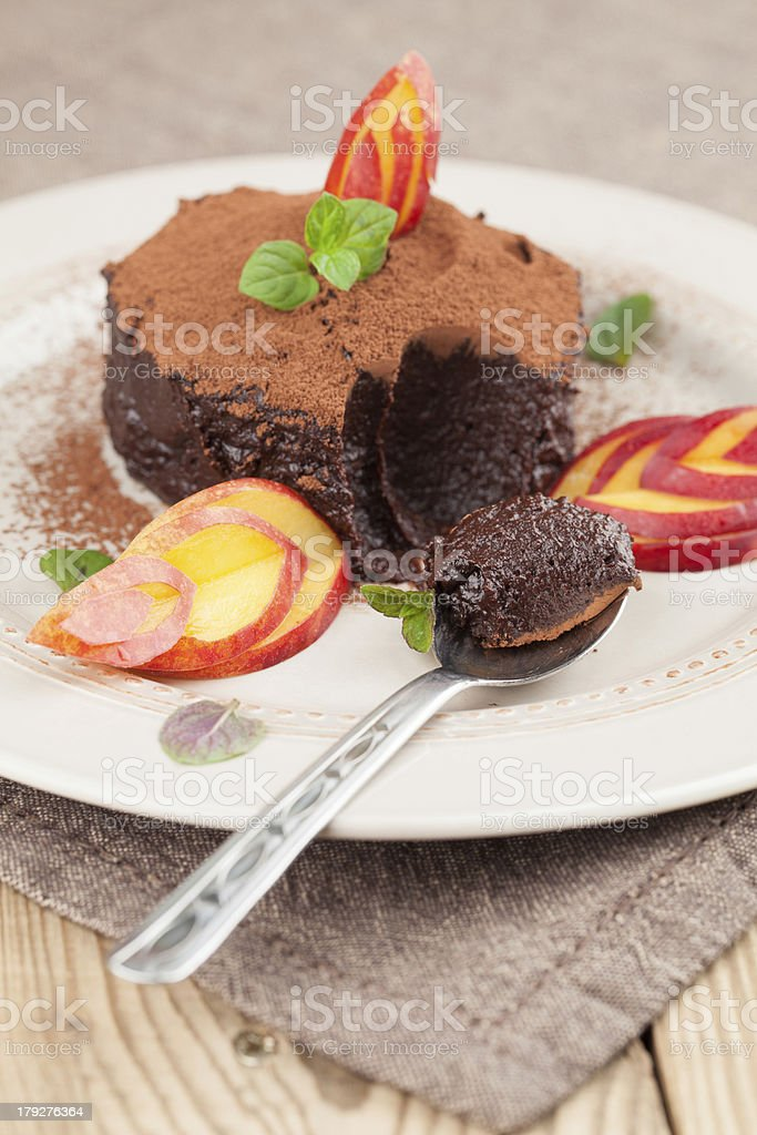 Raw vegan avocado chocolate mousse with nectarine royalty-free stock photo