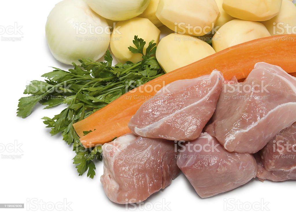Raw vegetable and meat royalty-free stock photo