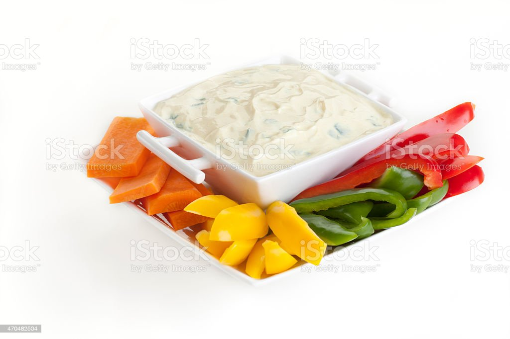 Raw Vegetables and Dip stock photo