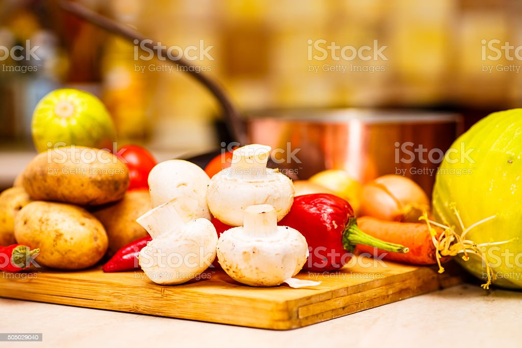 Raw vegetables for stew on the black Board n stock photo