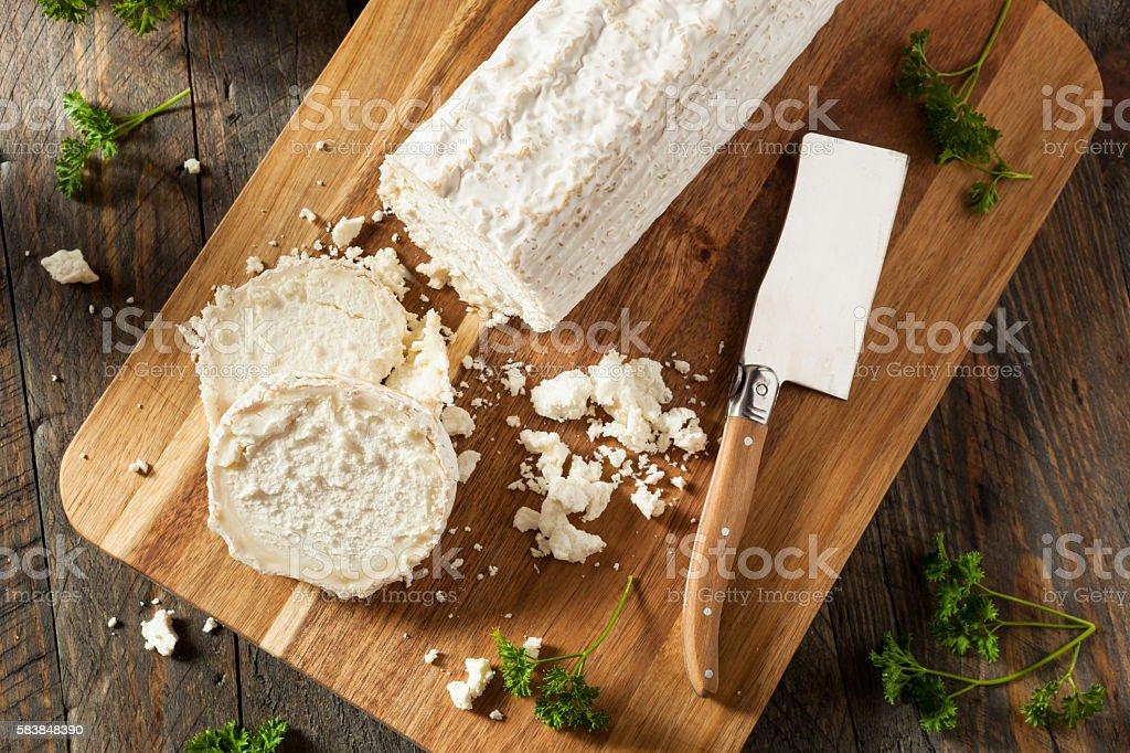 Raw White Organic Goat Cheese stock photo