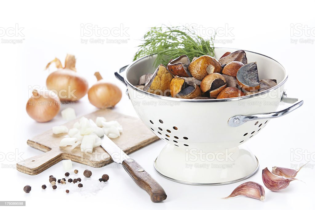 Raw wild mushrooms royalty-free stock photo