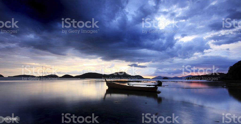 Rawai Bay Thailand at sunset stock photo