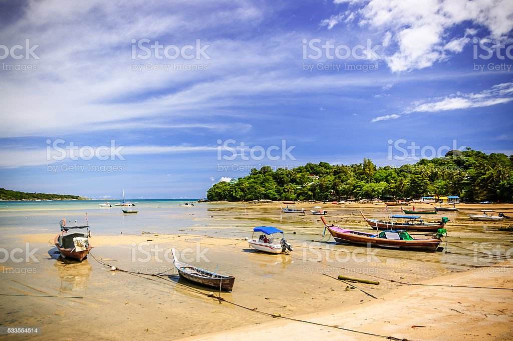 Rawai beach at low tide, Phuket, Thailand stock photo