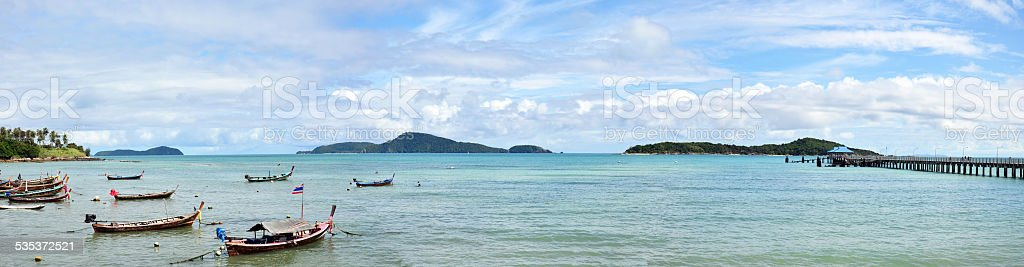 Rawai Beach at Sea of Phuket Thailand stock photo