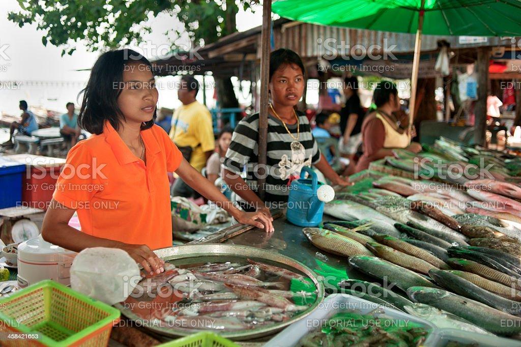 Rawai Market Fish Seller stock photo