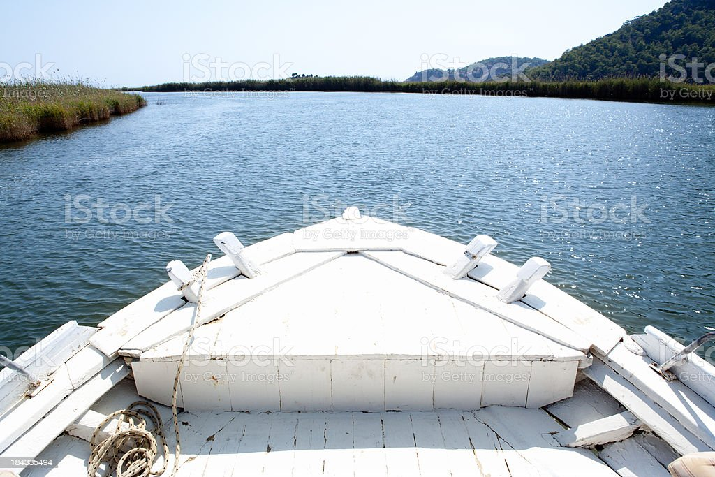 Rawboat in River royalty-free stock photo
